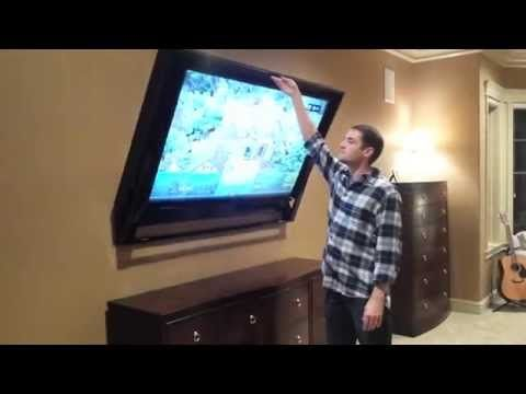 "The HIDDEN VISION Flip-Around Hidden TV mount for 60"" TV - YouTube                                                                                                                                                                                 More"