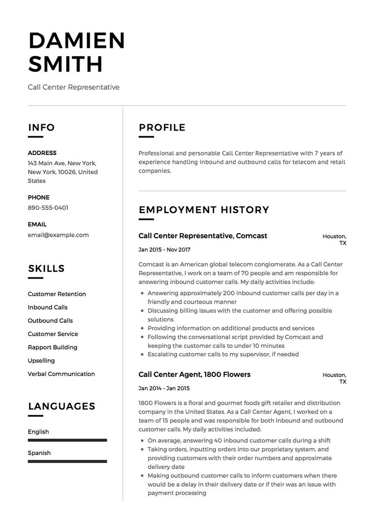 call center representative resume sample template example cv generator - Resume Generator