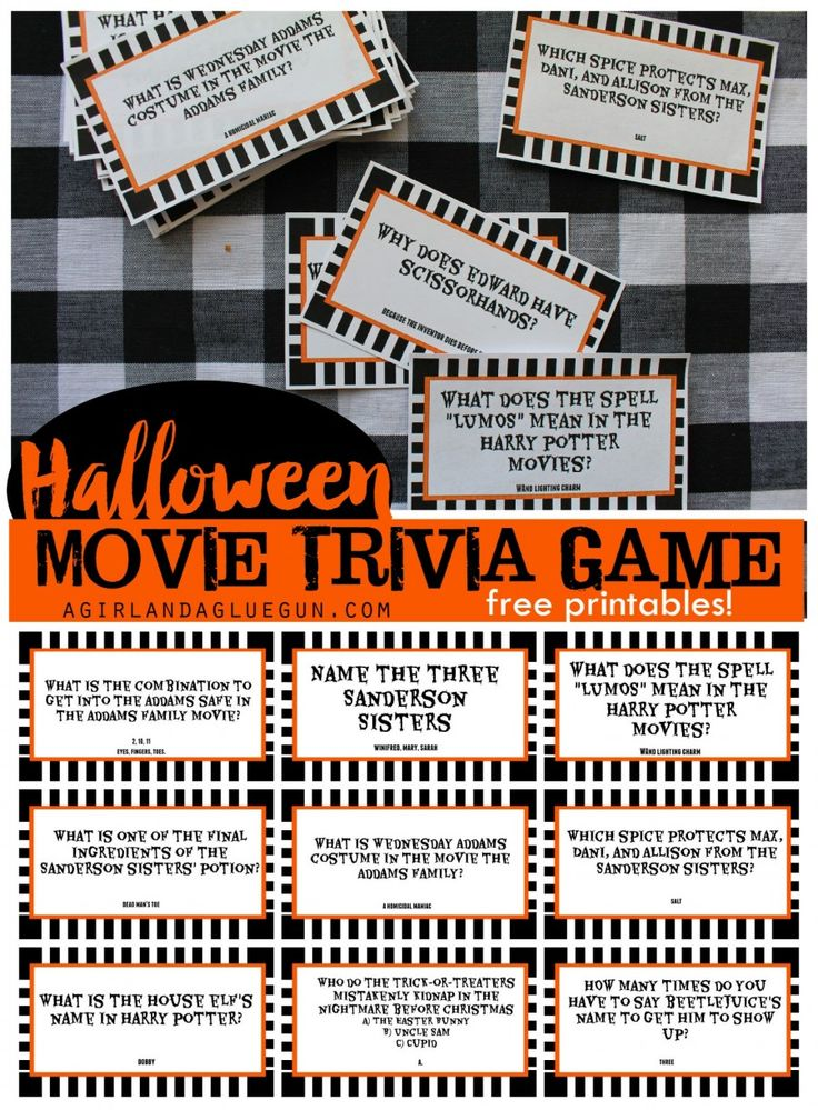 Halloween trivia game with free printables--kids version and adult version!
