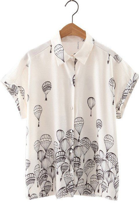 Riley, White Blouse with Short Sleeves Printed Balloons
