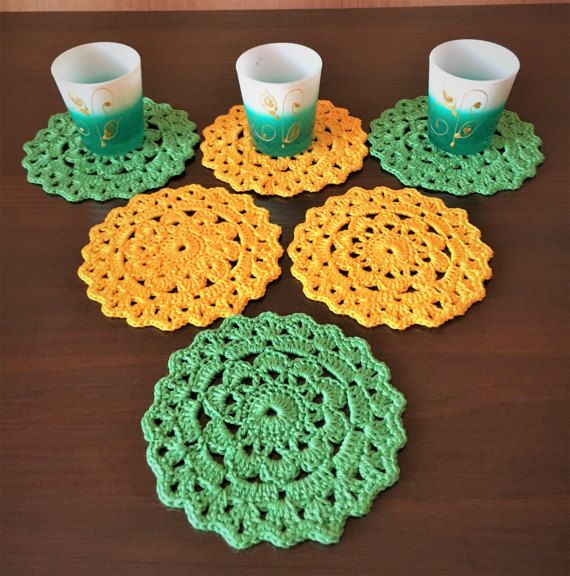 Набор 6 салфеток, вязаные салфетки крючком, салфетки цветные, домашний декор, декор стекла, декор дома, вязание крючком кружева, вязание крючком подстаканник, желтый.