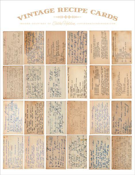 Vintage Recipe Cards - free printables