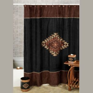 Chocolate Brown Suede Shower Curtain