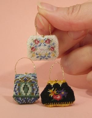 Miniature needlepoint tutorial - start stitching at the centre of the silk gauze