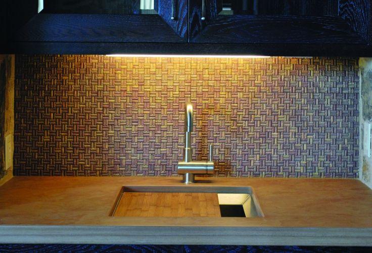 cork kitchen backsplash office kitchenette pinterest
