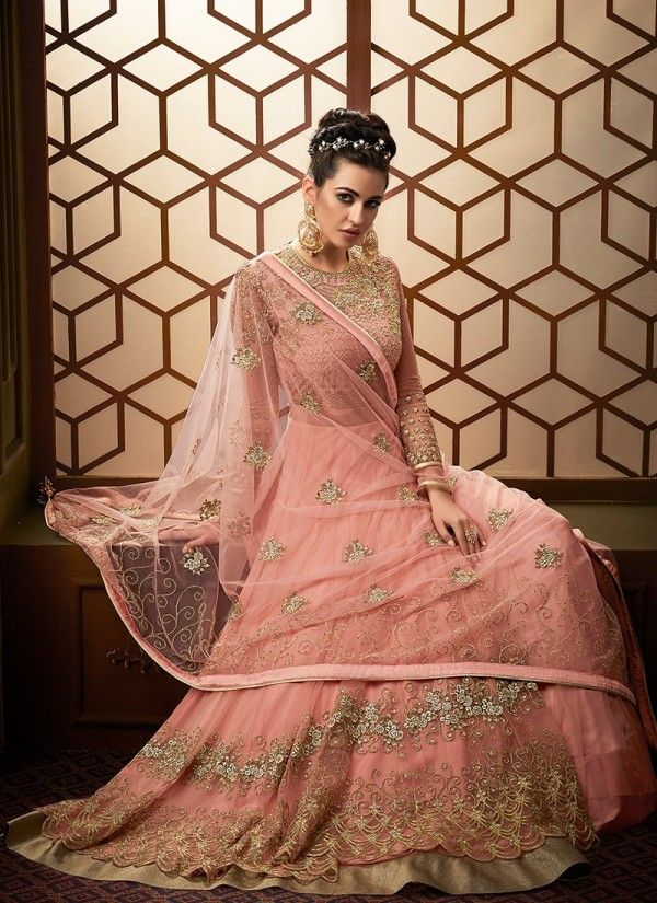 4d7ae57c6a Light Pink Embroidered Net Anarkali Pant Suit in 2019   Wedding ...
