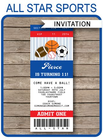 INSTANT DOWNLOADS of All Star Sports Ticket Invitations. Personalize the printable template easily at home and get your Sports party started right now!