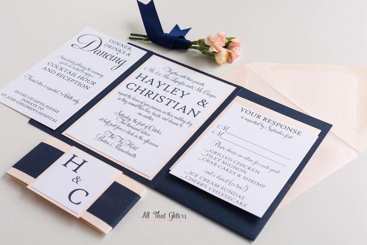 Fancy wedding invitation | navy wedding invite | gold wedding invitation | coral wedding invitations | blush invitations | Hayley