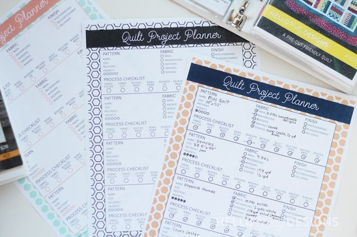 Hello Melly Quilt Project Planner
