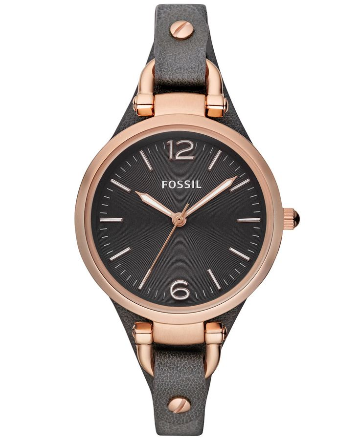 Fossil Women's Georgia Ash Gray Leather Strap Watch 32mm ES3077 - Watches - Jewelry & Watches - Macy's