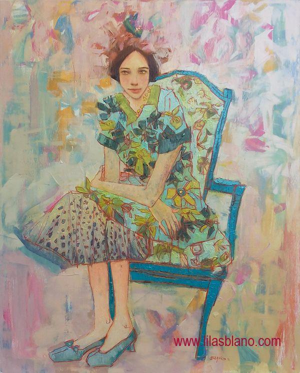 La Véronique sur Chaise Bleu Canard100 x 80 cm By Lilas Blano