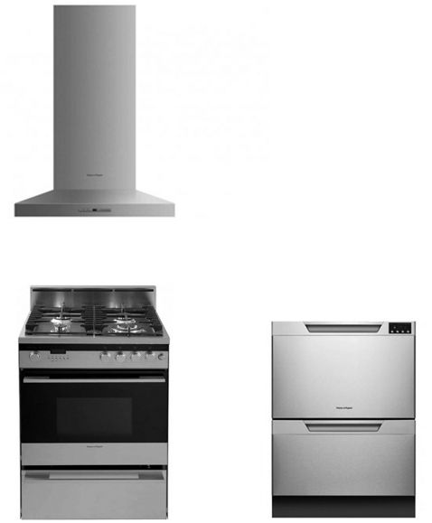 burner wall chimney pyramid hood with 600 cfm blower fisher paykel and dishdrawer series built in dishwasher with 9 wash cycles fisher