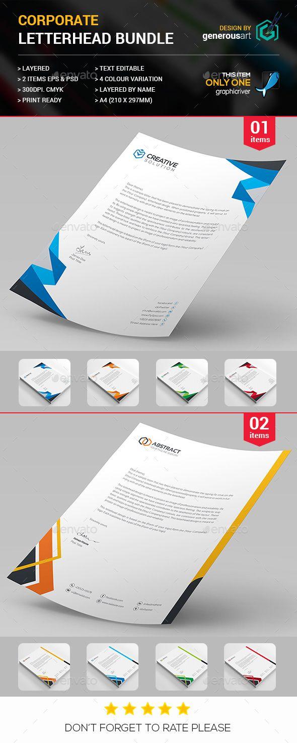 #Letterhead Bundle 2 in 1 - Stationery Print Templates.Download here: http://graphicriver.net/item/letterhead-bundle-2-in-1/16589272?ref=arroganttype