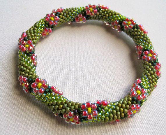 Bead Crochet Pattern:  Flower in a Field of Grass Bead Crochet