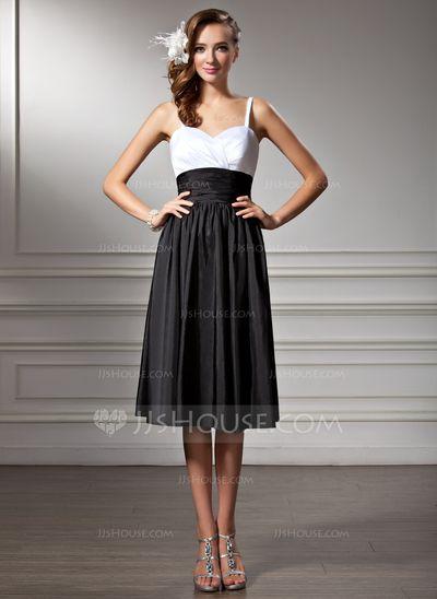 Empire Sweetheart Knee-Length Taffeta Bridesmaid Dress With Ruffle (007001830)