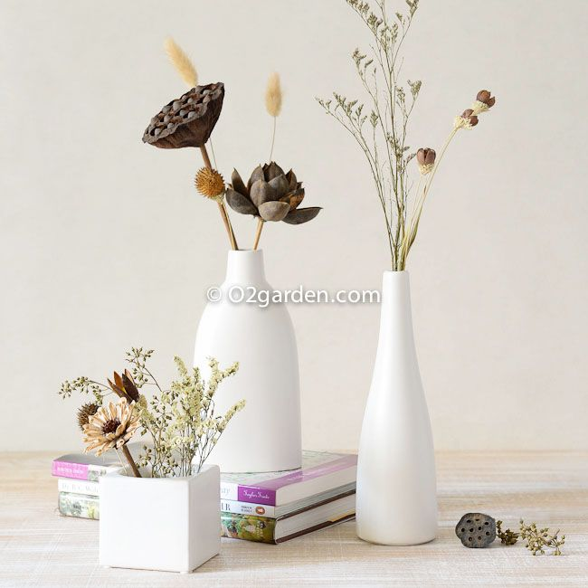 O2 white ceramic flower vase IKEA Asian modern and stylish flower artificial flowers dried flowers decorated table settings Set - Taobao