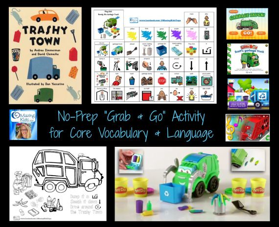 """No-Prep """"Grab & Go"""" Activity for Core Vocabulary & Language: Play-Doh Rowdy the Garbage Truck and the book Trashy Town (includes free printable symbols and coloring page)   OMazing Kids. Pinned by SOS Inc. Resources pinterest.com/sostherapy/"""