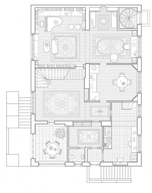Villa Scheu, Vienna. Adolf Loos. 'inhabited' plan