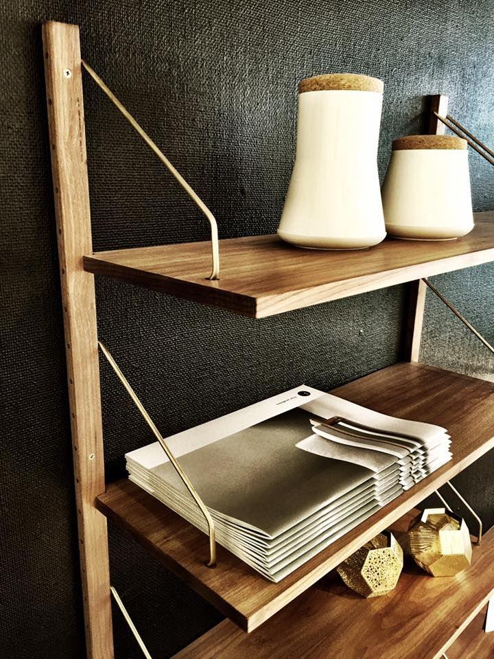 dk3_design_furnitureROYAL SYSTEM shelving seen @rosborgshop in Denmark #dk3 #royalsystem #poulcadovius #1948 #rosborgshop #theoriginal #walnut #brass www.dk3.dk