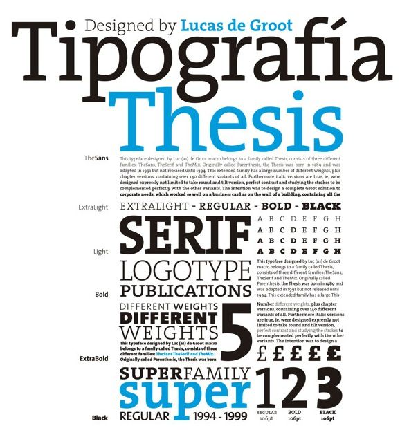 thesis sans typeface Publishing ideas in a hard-to-read typeface may make concepts harder to learn   the study, which was part of diemand-yauman's senior thesis at  fonts were  haettenschweiler, monotype corsiva or comic sans italicized.