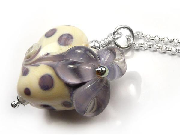 Lampwork Glass Pendant - Lilac Flower Heart