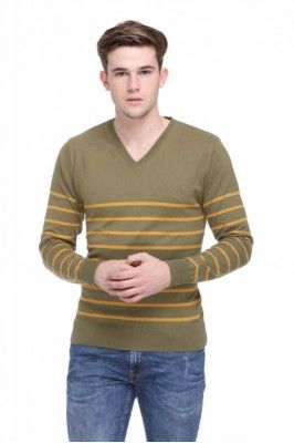 Cotton Mens V-Neck Striper Sweater For Winter #mensfashion #menssweater #greensweater #vnecksweater