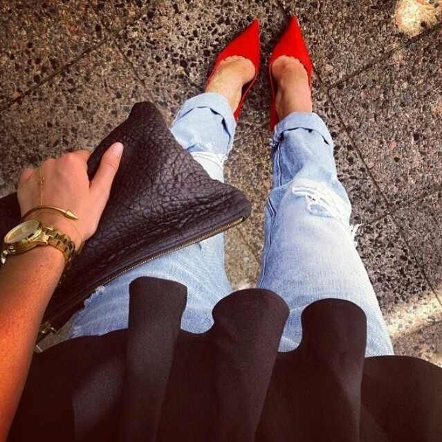Her fiery red pumps.
