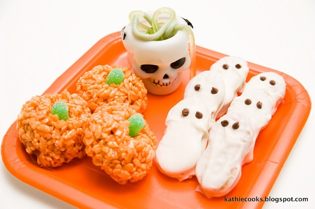 Jello worms, pumpkin Rice Krispies, and Nutter Butter ghosts