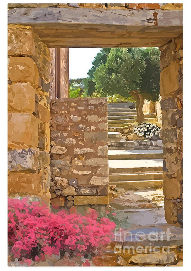 This rock entrance way leads to a beautiful mediterranean garden. There are pink bougainvillea and white daisies by the steps on the way up. It's very private and built like a fortress. I've put a painterly filter over the original photograph.