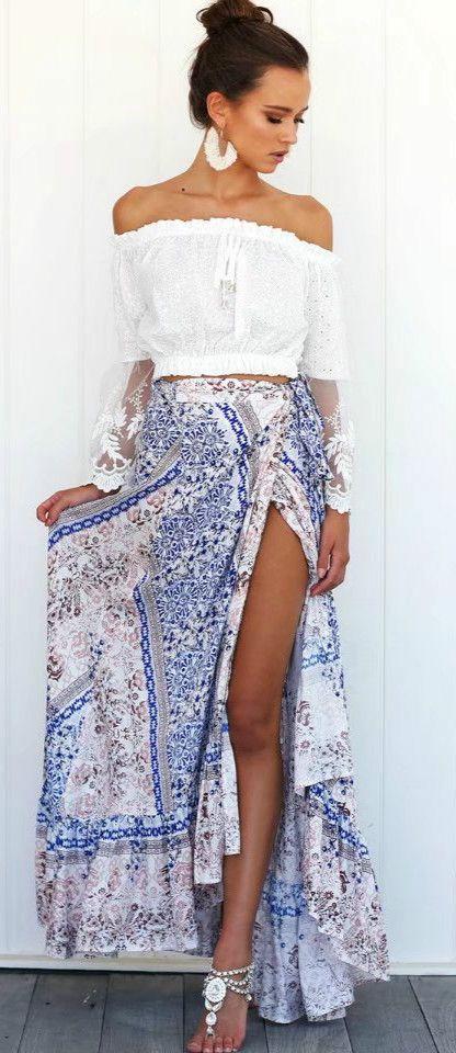 Bohemian Tie Waist High Slit Irregualr Maxi Skirt