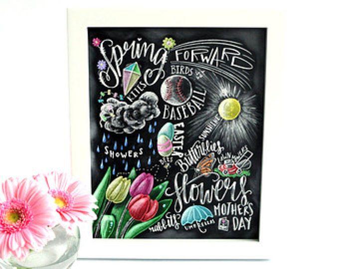 Lente Decor, teken van de lente, voorjaar kunst, schoolbord Art, krijt kunst, typografie, voorjaar metro Art, lente, tulpen, Word Collage