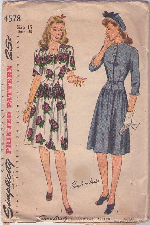 Simplicity 4578 Vintage 40's Sewing Pattern BEAUTY WW2 Era Swing Time Drop Waist, Flared Skirt Shirtwaist Dress, 2 FAB Styles #MOMSPatterns