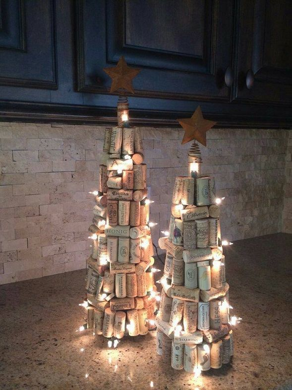 "These gorgeous wine cork christmas trees were made by Liz Bramhall Childres! Here's her tutorial she shared with us… ""I started with a styrofoam tree (they come in different sizes), a hot glue gun, LOTS of corks & a string of lights (30 or 50 light count depending on the size tree.) I started gluing …"