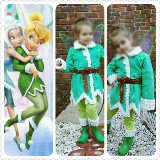 Quick winter Tinkerbell costume. Not finished with the pom poms on the boots yet.