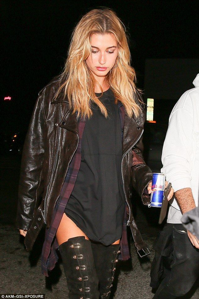 Hailey Baldwin models daring suede boots at The Nice Guy