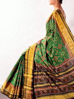 Green silk pochampally saree online shopping India | Holy Weaves ...