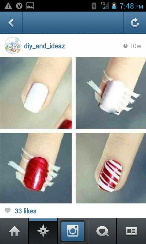 this is so cool! simple, paint your nails white, then put tape on them, paint them any other color you want then when dry pull the tape off and boom! there ya go!