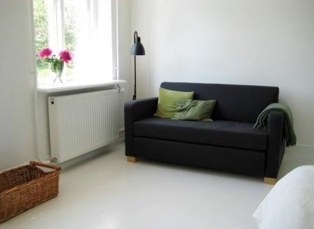 Sofabed in guestroom, Æblegaarden B&B, Langeland, Denmark, www.aeblegaarden.dk