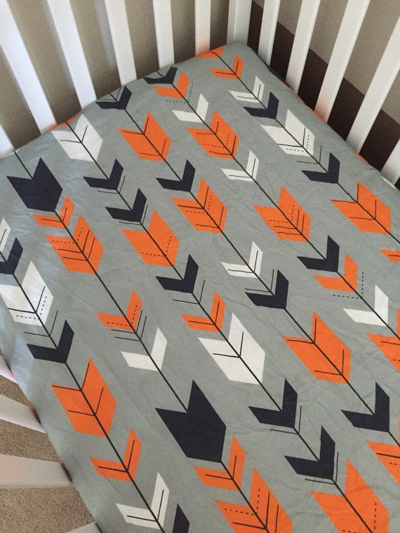 Crib Sheet  Navy Orange Grey Fletching Arrows by 3LollipopGirls