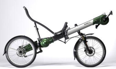 a Flevobike Greenmachine short recumbent bicycle