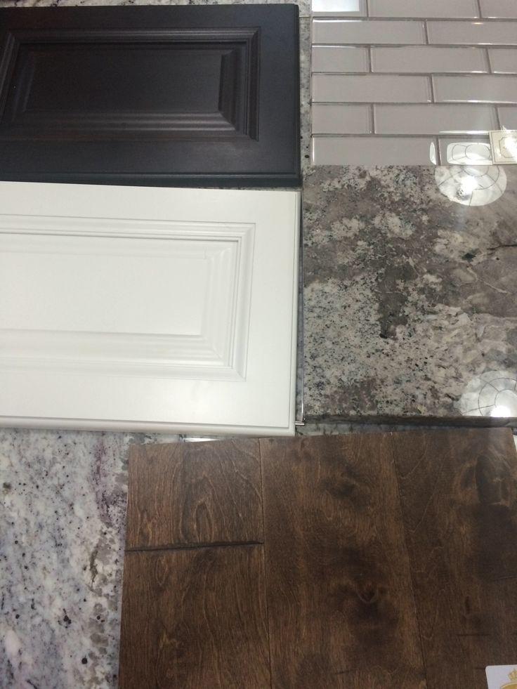 Bright white wall cabinets espresso island birch 39 suede for Warm kitchen flooring