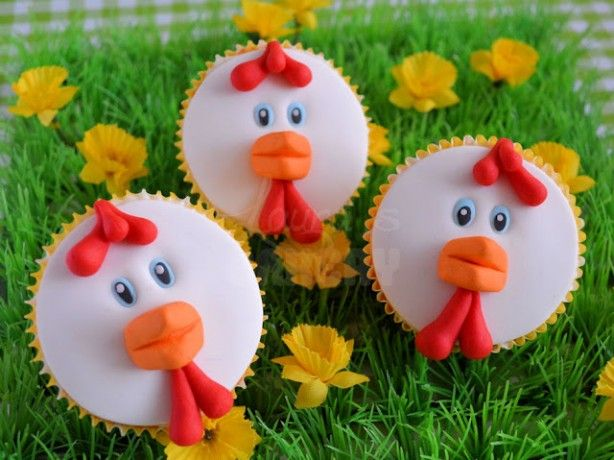 grappige kip cupcakes