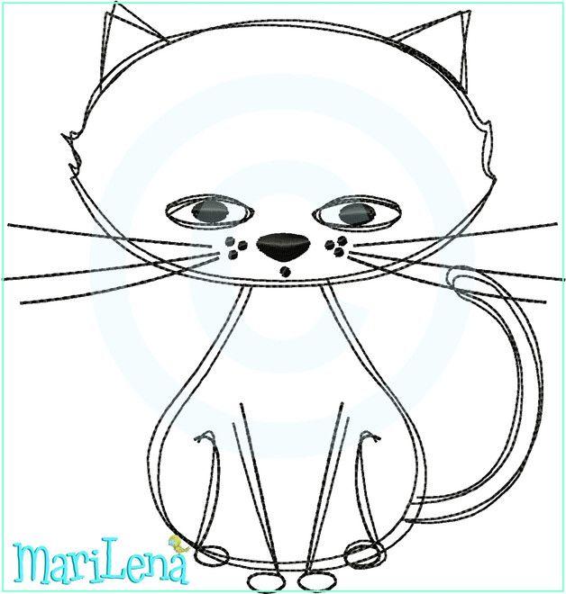 **Stickdatei / Stickmuster Katze als Doodle Applikation gearbeitet.**  Das Motiv ist für den **13x18cm Rahmen**.     **ACHTUNG!!! Es handelt sich um ein Stickmotiv für die Stickmaschine und...