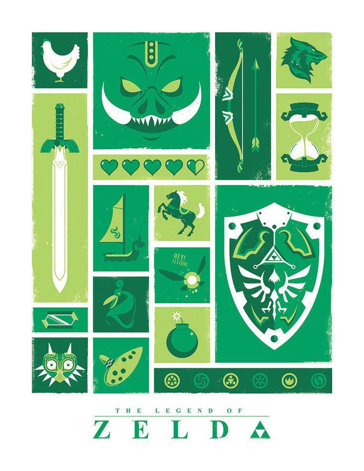 Legend of Zelda Icons by Jeff Langevin Art prints