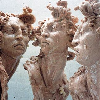 "by Javier Marin, ""Cabezas de Mujer,"" polyester resin and amaranth, 2000"