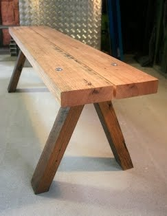 Australian Timber Bench Seat made with dressed tasmanian oak joists and Australian hardwoods