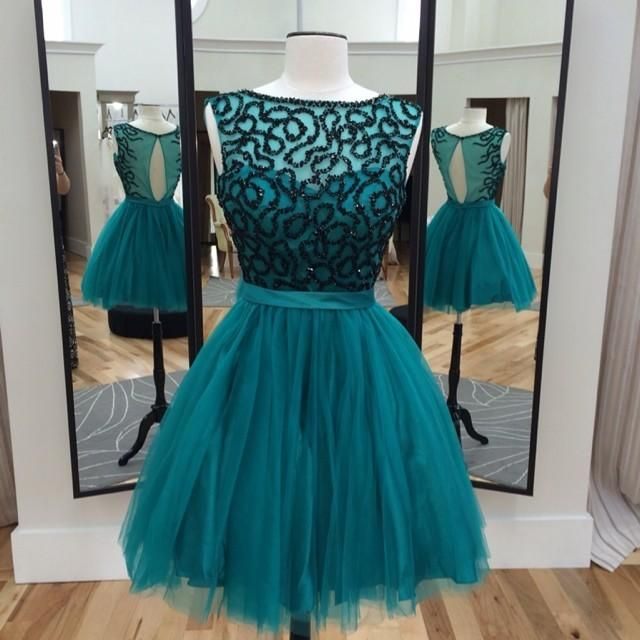 2015 Short Homecoming Dresses 2015 Hunter Homecoming Dresses Real Photos Beaded Crystals Tulle A Line Vestidos De Fiesta Cortos With Keyhole Back Homecoming Dresses Size 0 From Nicedressonline, $139.9| Dhgate.Com