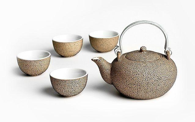 Καφέ κεραμική τσαγιέρα και 4 κούπες Cheng