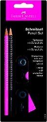 Σετ γραφής Faber - Castell 4 τεμαχίων Περιέχει: 2 μολύβια σε ροζ και μαύρο χρώμα, τύπου Β, με εργονομικό σχήμα και ανθεκτική μύτη που δεν σπάει εύκολα χάρη στην ειδική κόλλα SV Ξύστρα με δοχείο, με προστατευτικό καπάκι, ώστε να μη λερώνει Υψηλής ποιότητας γόμα για να σβήνει χωρίς να μουτζουρώνει