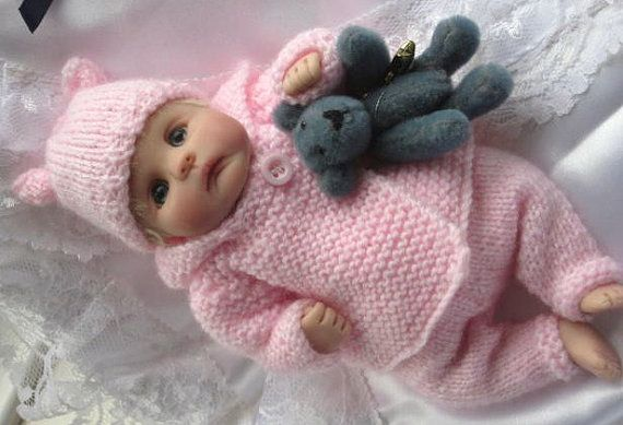 Snow Baby Layette - Knitting pattern for baby doll 7-8 inches Clay Baby or similar emailed